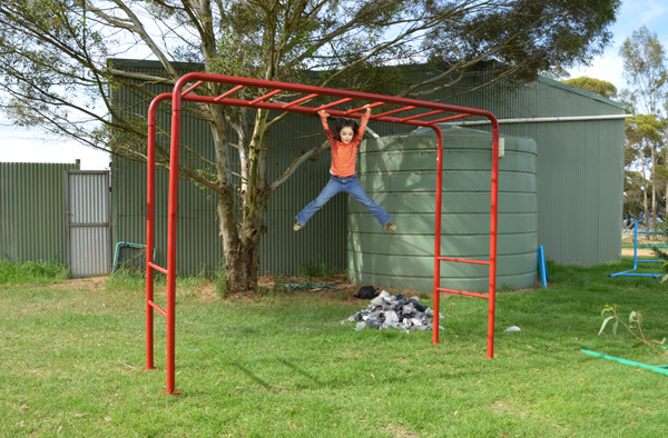 Red Mini Monkey Bars Playground Equipment from Cubbykraft
