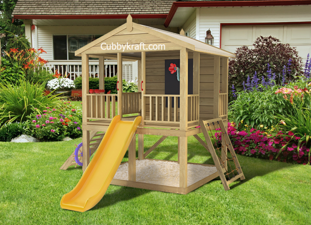Mango Pak, wooden playground equipment, cubby house fort, Mango Pak Cubby Fort