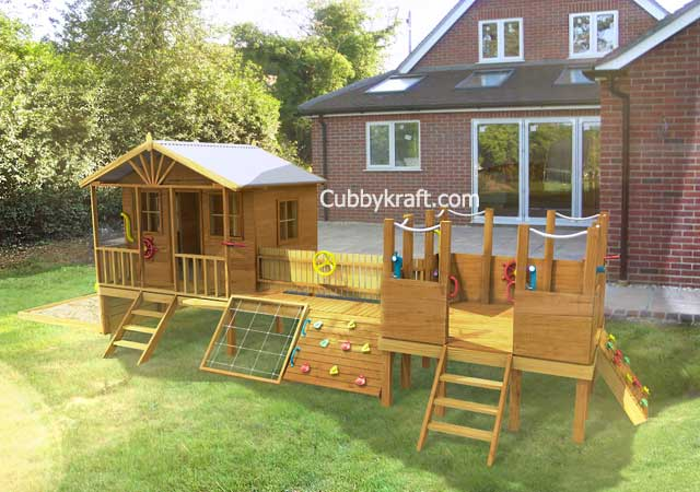 play master, wooden cubby house, cubby house, Play Master Deuxe Cubby House