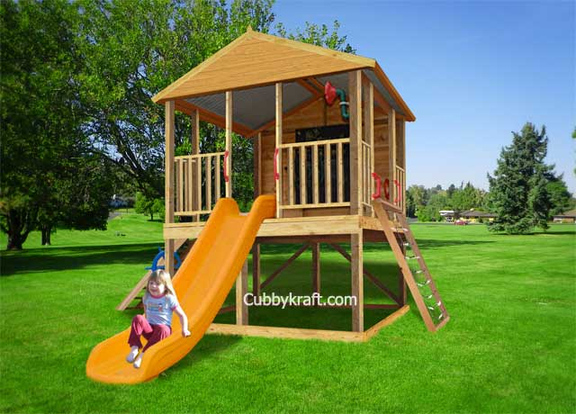 Safari Pak, wooden playground equipment, cubby house fort, Safari Pak Cubby Fort