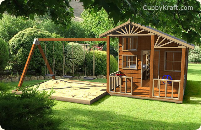 Alpine Lodge Swingset, wooden cubby house, cubby house, Alpine Lodge Swingset Cubby House