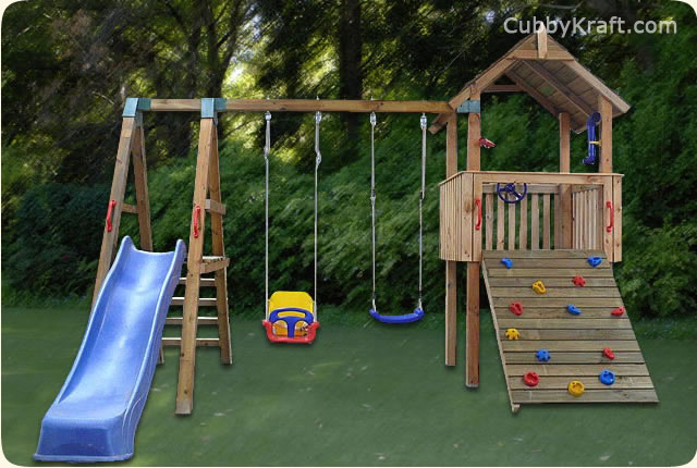 Bear Cub, wooden playground equipment, cubby house fort, Bear Cub Cubby Fort
