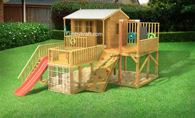 kangaroo cottage, wooden cubby house, cubby house, Firefox Playground Cubby House