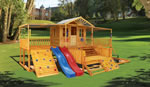 Timbertop Mansion, wooden playground equipment, playhouse designs