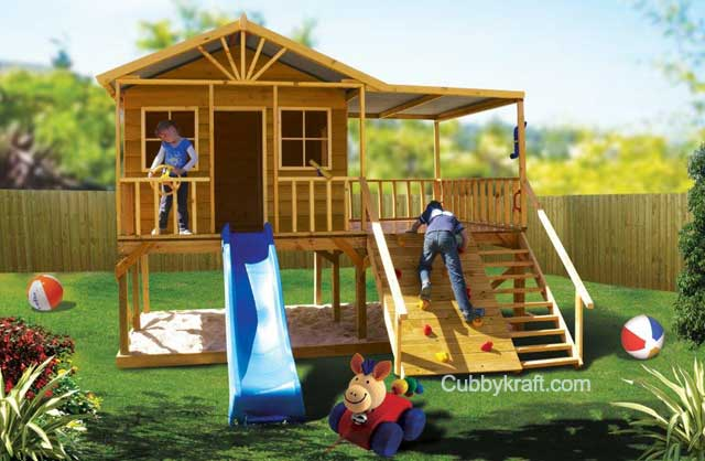Redwood Lodge, playhouse, outdoor playground equipment, cubby house, Redwood Lodge Cubby House