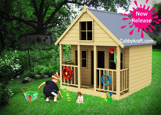 pebbles, wooden cubby house, cubby house,