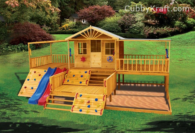 Timbertop Mansion Cubby House Playhouse Playground Equipment