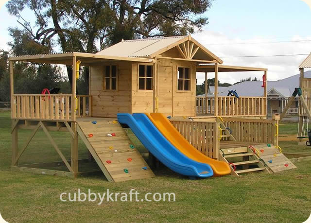 Timbertop Mansion, playhouse, outdoor playground equipment, cubby house, Timbertop Mansion Cubby House