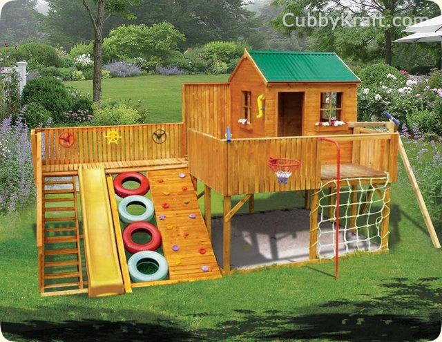 Timberwolf cubby house kids playground equipment for Awesome playhouse plans