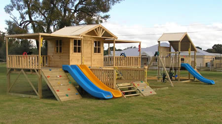 Turbo Swing Gym and Timber wolf Cubby Houses